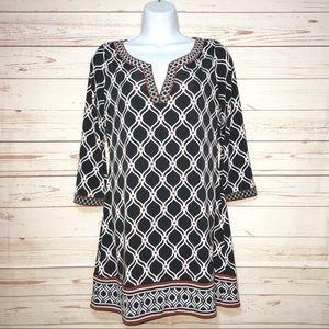 White House / Black Market Geo Tunic Mini Dress S